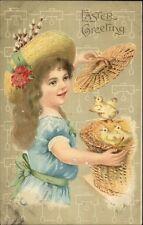 Easter - Little Girl Finds Chicks in Basket c1910 Postcard bck