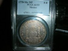 MEXICO 1770 MO MF 8 REALES PCGS AU 53 PILLAR DOLLAR  Lower Opening Bid!