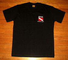 """DIVING Tee, Youth Size LARGE (""""14"""") T-Shirt, Embroidered """"DIVE"""" DR, Black, NEW"""
