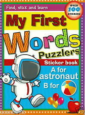MY FIRST WORDS Puzzlers Find, Stick & Learn Sticker Workbook Ages 3+ PreK+