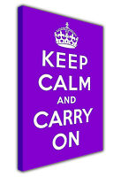 KEEP CALM AND CARRY ON QUOTE LARGE CANVAS PRINTS WALL ART RED GREEN PURPLE BLUE