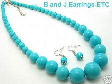 Cute New Blue Beaded Necklace & Earring Set, Jewelry