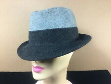 Vintage Authentic Gerard Darel Fedora Hat 2 Tone Grey Sz. Sm. 7 Laine 100% Wool