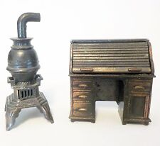 Miniatures Metal Desk Stove Doll House Durham Industries