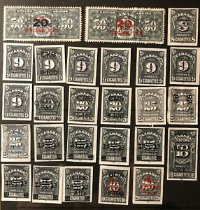 CANADA - CIGARETTE & TOBACCO EXCISE TAX - SERIES 'C' STAMPS -USED