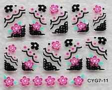 Nail art: 10 stickers bijoux d'ongles: Fleurs roses bords décos noires design