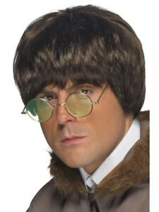 Short Brown Brit Pop Star Wig Mens Fancy Dress Costume Accessory