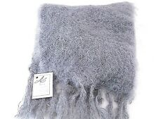ADELE'S CLASSIC FLUFFY GREY MOHAIR WOOL SCARF