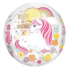 Transparent See through Magical Unicorn Orbz Foil Balloon Flowers Birthday Gift