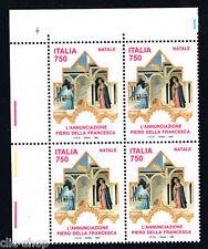 ITALIA 1 QUARTINA NATALE L'ANNUNCIAZIONE 1993 nuovo**