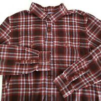 REI Flannel Shirt Mens Large Thick Red Blue Plaid Long Sleeve Button Up Outdoors