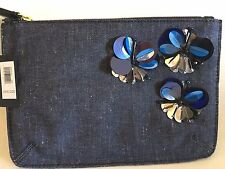 SOLD OUT NEW Banana Republic Blue Denim Embellished Clutch Pouch Handbag Purse