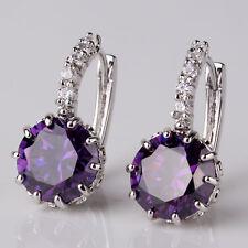 Simple & Elegant 925 Sterling Silver Light Purple Crystal Hoop Earrings Jewelry