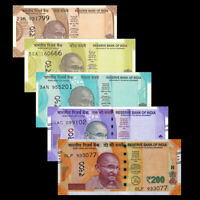 Set of 5Pcs India 10+20+50+100+200 Rupees,Gandhi New Issued,Random Year,UNC