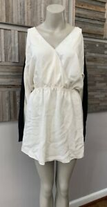 PARKER - Silk Wrap Effect Long Sleeve Mini Dress White/Black - Size Small - NWT