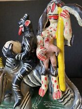 Vintage Mexican Ocumicho demon Folk Art Clay Pottery. Handmade And Handpainted.