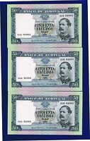 Portugal Banknotes 3X 50$00 ESCUDOS 1960 PIC164 AUNC RUNNING NUMBERS