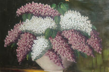 European Antique oil painting still life lilac flowers