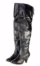"""neat-09 New Over Knee Zipper Faux Leather 3"""" Inch High Heel Women's Boots Black"""
