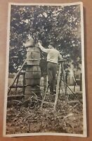 Vintage Old 1920's Photo of Man on Ladder with 3 Tiered Crates Mooshiner ?