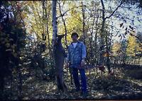 Vintage Photo Slide 1980 Deer Bow Hunting Man Posed New York