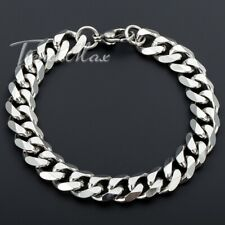 """11mm Wide Mens Boys Curb Cuban Chain Silver Tone Stainless Steel Bracelet 7-11"""""""