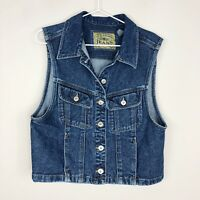 Vtg 1990's Liz Claiborne Jeans Women's Sleeveless Denim Vest Jacket Size Large