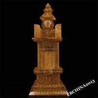 "12"" Old Tibet Buddhist Scripture Glass Gilt Gem Buddha Relics Pagoda Statue"