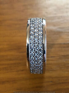 Mens 10k White Gold Over 2.5Ct 3-Row Diamond Eternity Engagement Pinky Ring Band
