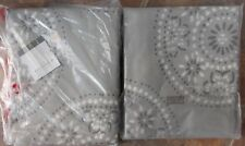 "Lot of (2) Threshold Gia Medallion Window Panels ~ New Gray Ivory 54"" x 84"""