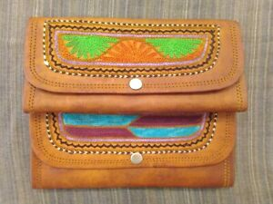 Brown Traditional Handmade Unisex Small Leather Wallet Clutch Indian Stitched
