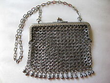 Antique Victorian Silver T Fancy Ball Fringe Armor Chain Mail Mesh Purse #32