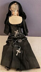 """Vintage 9"""" PORCELAIN HEAD DOLL with TRADITIONAL NUN'S HABIT & ROSARY BEADS NR"""