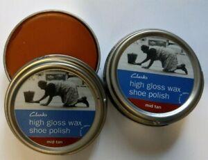 2x Mid Tan Shoe Polish Clarks Premium High Gloss Wax Polish - 2x 50ml Tins