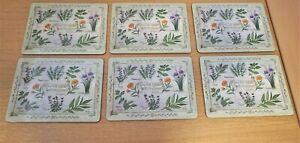 """Kitchen / Dining Table Dinner Place Mats 12"""" x 9"""" Herb Series Cork Backed"""
