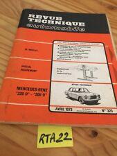 Mercedes Benz 220D 200D Revue Technique Automobile RTA ETAI 1973 N° 323