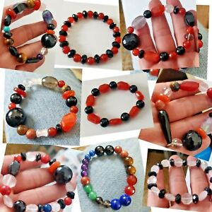NATURAL CUT & CAB GEMSTONE SMOOTH INTUITIVE HEALING REIKI FINE BEADS BRACELET