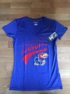 Champion NCAA Kansas Jayhawks Women's Heather Jersey V-Neck T-Shirt Size S, New!