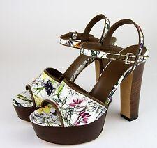 $675 New Auth Gucci Danielle Floral Canvas Clog Platform Sandal,38.5/8.5, 312587