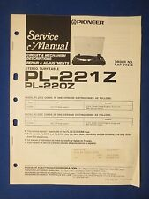 Pioneer Pl-221Z Pl-220Z Turntable Service Manual Factory Original The Real Thing