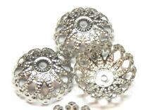30 Edelstahl Perlenkappen 12mm Silber Spacer Schmuck Zwischenperlen BEST M581