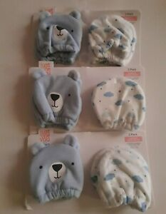 Lot of 3 Carters Just One You Hand Mitts Bear Sky Blue Newborn NEW