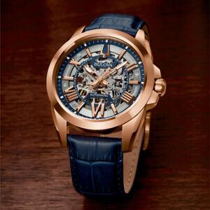 Men's Bulova 21 Jewels Automatic 97A161 Skeleton Rose Gold Tone Glass Back Watch