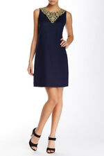 Eliza J Embellished Linen Blend Shift Dress Navy Blue EJ6M1710 Size 8