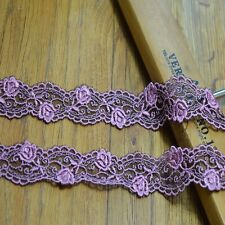 Amazing pink/purple flower embroidery lace trim - price for 1 yard