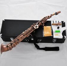 Professional Red Antique Soprano Saxophone Saxello Sax Curved Bell Leather Case