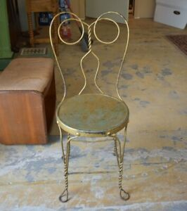 Mid Century Metal Industrial Ice Cream Parlor Gold Chair, Chicago Wire Chair co