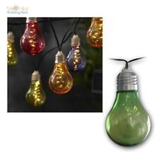 """LED Solar Lichterkette """"Glühbirnen"""" 50 LEDs warmweiß klar oder bunt Außen/Innen"""