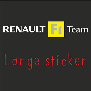 1 x LARGE Renault F1 Team Sticker Decal New Style in WHITE (Clio, Megane Sport)