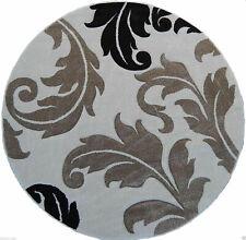 "5'5 x 5'5"" Round Floral Area Rug, Black, Coffee, Ivory Home Decor Carpet"